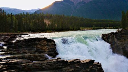 Impressive waterfall in Jasper National Park, Canada