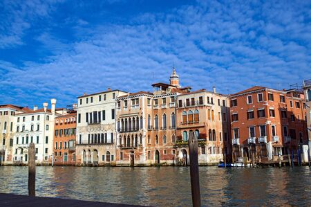 fleecy: Grand Canal with blue sky and fleecy clouds in Venice Stock Photo