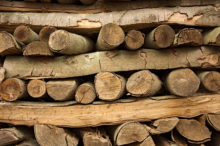 transverse: Pieces of wood stacked lengthwise and transverse Stock Photo