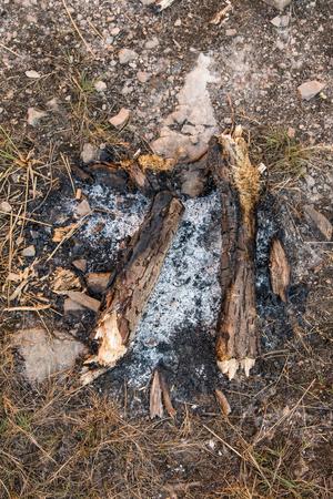 la quemada: Ash se quemó alrededor de una fogata en la naturaleza
