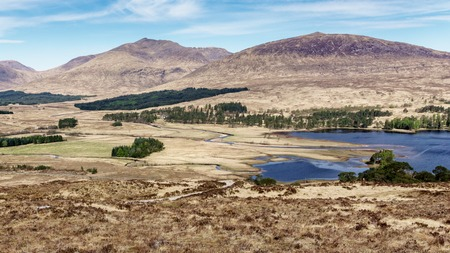 Gorgeous landscape with lake on west highland way Stock Photo