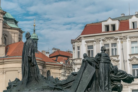 Jan Hus memorial  on the Oldtown Squar, Prague, Czech Republic