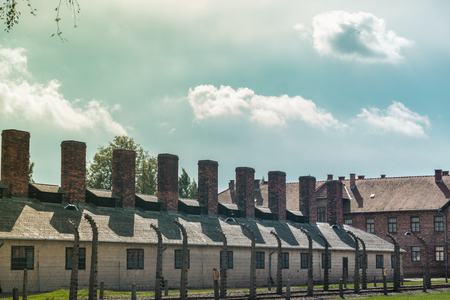 Chimneys of the buildings where the bodies of the dead Jews were burned in the concentration fields of Auschwitz and birkenau in Poland