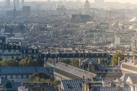 Horizon view of Paris, in France with an architectural perspective over the roofs of the buildings in the Montmartre district and sparse trees during the daylight with some fog in the air