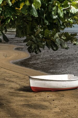 Peaceful and summerly landscape of a tropical beach with a small white and red landed boat with a latin name by the coarse sand near the sea and wide tree leaves in the upper corner