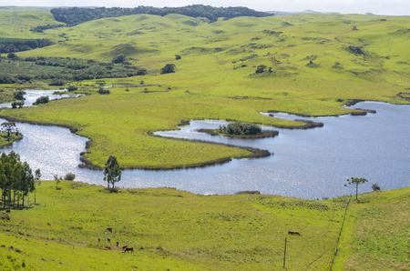 Beautiful view of nature, aerial view of Dam of Divisa, Sao Francisco de Paula, Rio Grande do Sul. Stockfoto
