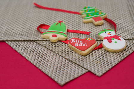 Great holiday background, christmas cookies on the table.