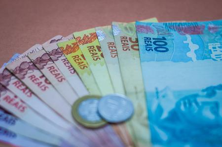 Brazilian real notes, Brazilian money. 스톡 콘텐츠