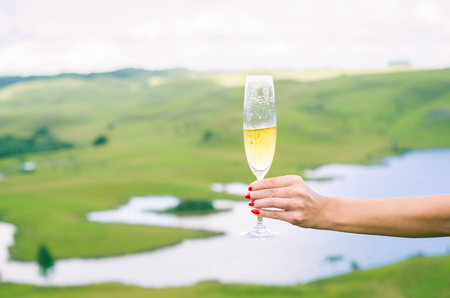 Young woman holding glass of sparkling (champagne) Imagens