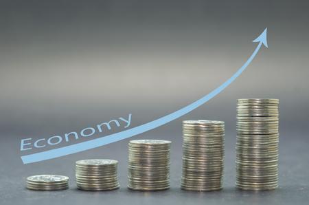 Saving money concept preset, money coin stack growing business. Archivio Fotografico