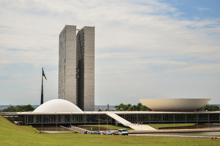 Brasília, Distrito Federal, Brazil, October 25 -2014: National Congress, located in the Plaza of the Three Powers, work of the architect Oscar Niemeyer.