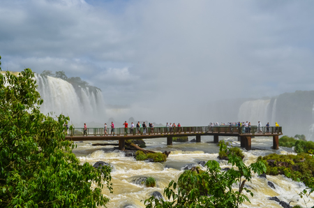 Beautiful photo of the Iguassu Falls, the highest water flow in the worlds cataracts.