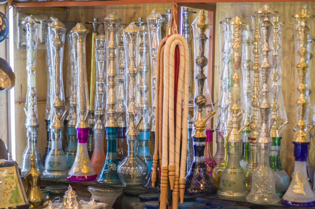 Tripoli, Lebanon, April 09 - 2017: Shelf with traditional Arguiles (Narghile, Shisha, Chicha, hookah), used for smoking tobacco, widely, very widespread throughout the Middle East.