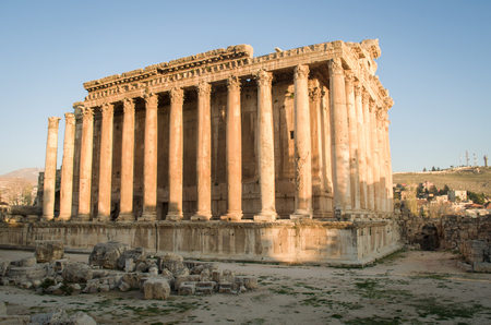 Temple of Bacchus. Ruins of Baalbek. Ancient city of Phenicia located in the Beca valley in Lebanon. Acropolis with Roman remains.
