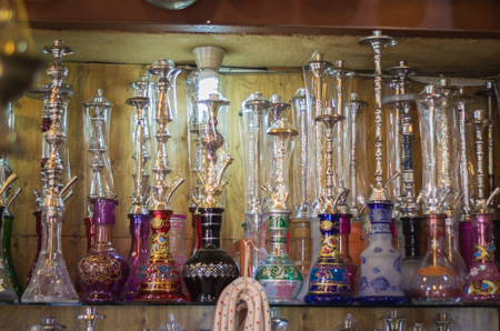 Tripoli, Lebanon, April 09 - 2017: Shelf with traditional Arguiles (Narghile, Shisha, Chicha, hookah), used for smoking tobacco, widely, very widespread throughout the Middle East. Editorial