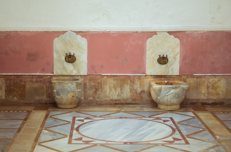 Chouf District, Lebanon, April 05 - 2017: Historic Turkish marble bathroom, located inside the Beit ed-Dine (Beiteddine) palace, built in 1788, renovated after the civil wars in Lebanon.