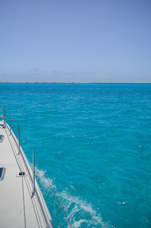 View from sailboat to the sea of cancun, lever, control.