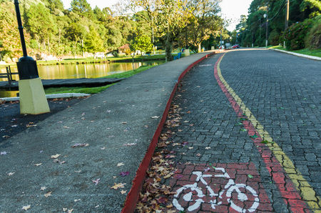 Cycling in São Francisco de Paula, Brazil, great concept of sustainable locomotion. Stock Photo