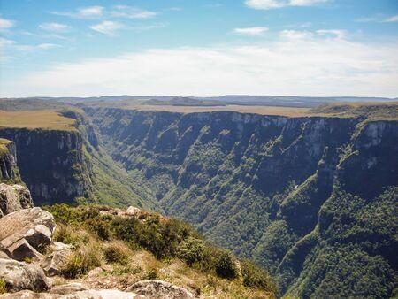Beautiful landscape of Fortaleza Canyon and green rainforest, Cambara do Sul, Rio Grande do Sul, Brazil Фото со стока