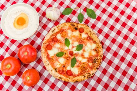 Great background for culinary themes, handmade pizza with daisy flavor on checkered Italian style towel background with different ingredients.