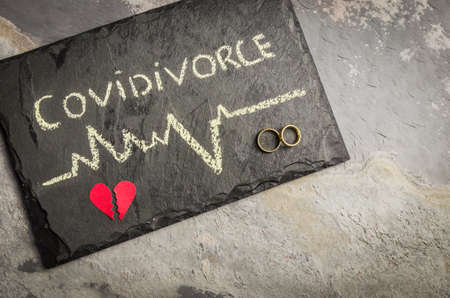 "Great concept of divorce in quarantine due to the 2019 coronavirus pandemic. Plaque written ""COVIDIVORCE"" in reference to divorces caused by human relationships during quarantine."