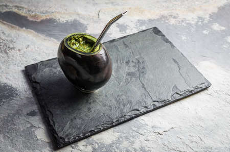 """Traditional gaucha drink, chimarrao """"mate"""", folk drink from Brazil, Paraguay, Uruguay and Argentina."""