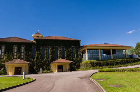 Bento Golçalves, Brazil, April 07 - 2017: Luxury Winery, Vineyard of grapes in the Vale dos Vinhedos in Bento Gonçalves, a gaucho wine.