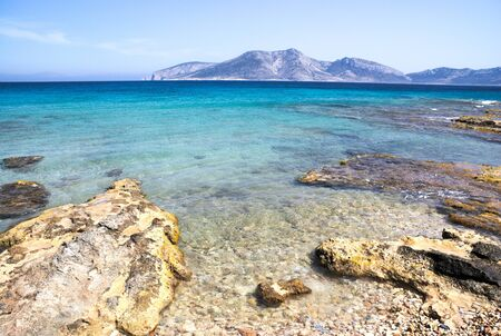 Greece, the island of Koufonissi. The crystal clear waters of the Aegean sea. Stock Photo