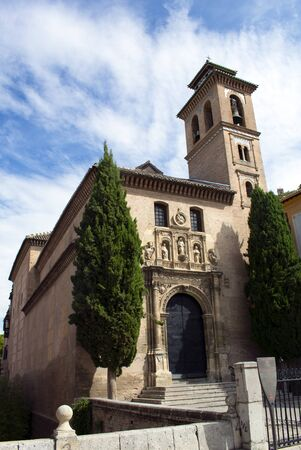 Spain, the ancient City of Granada, in Andalusia. A view of the Church of Saint Gil and Saint Ana.  Built on the site of an old mosque. The minaret is now a Christian bell tower. Banco de Imagens