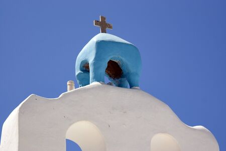 Greece - AntiParos island.  The bell tower of an old church. Reklamní fotografie