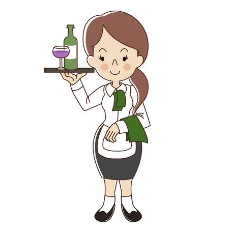 Female waitress serve glass of wine and bottle of wine cartoon Ilustrace
