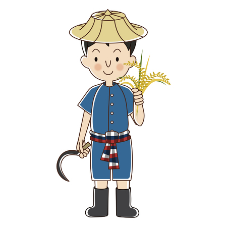 Thai Farmer with rice plant cartoon