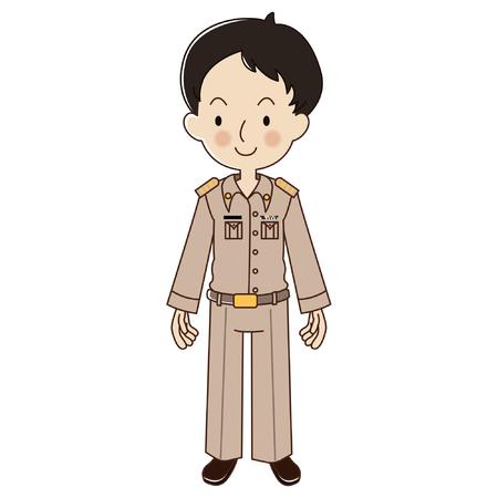 Enseignant thaïlandais en uniforme, officier du gouvernement thaïlandais.