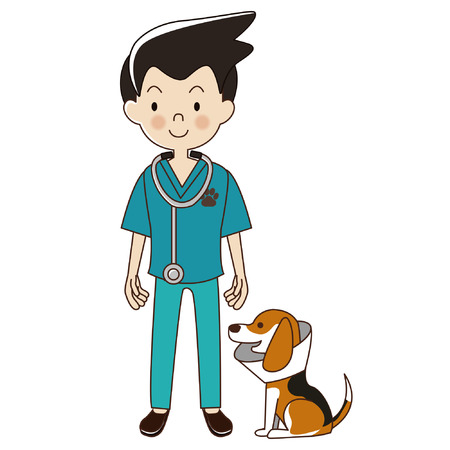 veterinarian man with be a beagle dog in collar.