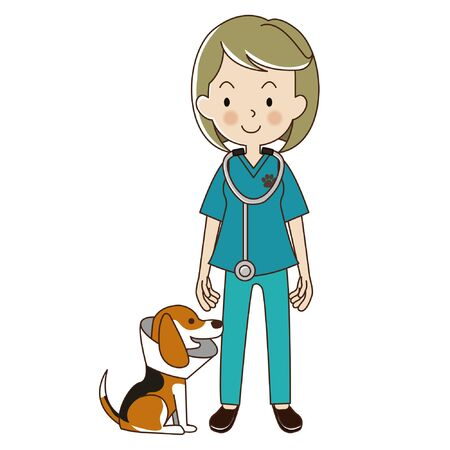 veterinarian woman with be a beagle dog in collar. Illustration