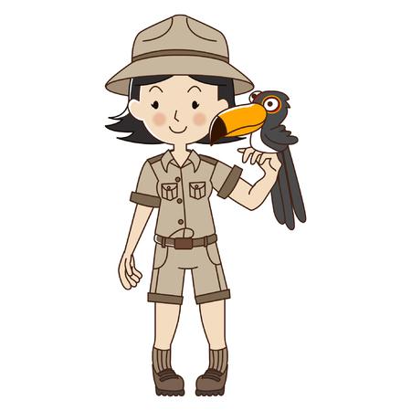Zookeeper woman with Toucan,cute zoo keeper in brown uniform. Çizim