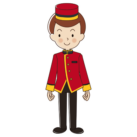 Bellboy in red suite uniform.