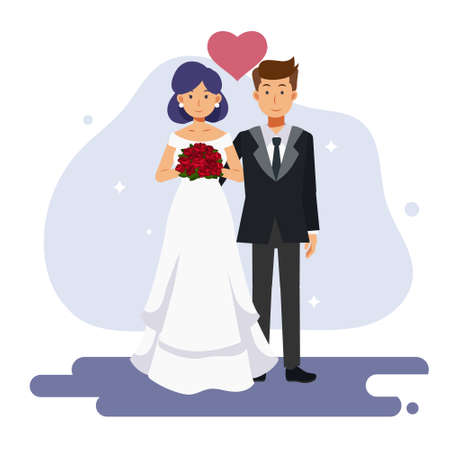 flat cartoon character vector illustration of cute couple marriage. bride and groom, wedding Ilustração
