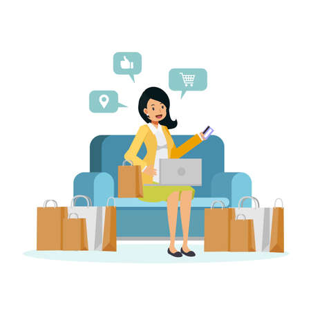 vector illustration of flat cartoon character woman sitting on sofa is enjoy shopping online. woman hold credit card on sofa surronding by shopping bag.