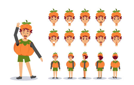 Little Boy in Cute pumpkin costume for Halloween festival.trick or treat. Front, side, back view animated character.Vector Character creation set, Cartoon style, flat vector illustration. Иллюстрация