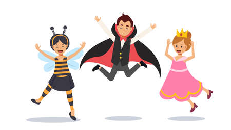 Cute Young children in Halloween costume are jumping up, Happy kids jumping. Dracula vampire,bee,princess. Flat character Vector illustration.