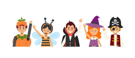 Children in variety Halloween costume are happy and enjoy. smile and wave. Pumpkin,bee,Dracula vampire,with,Pirate.