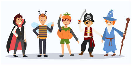 Vector cartoon of Cute Halloween characters.Children in Halloween costume. Halloween kids.