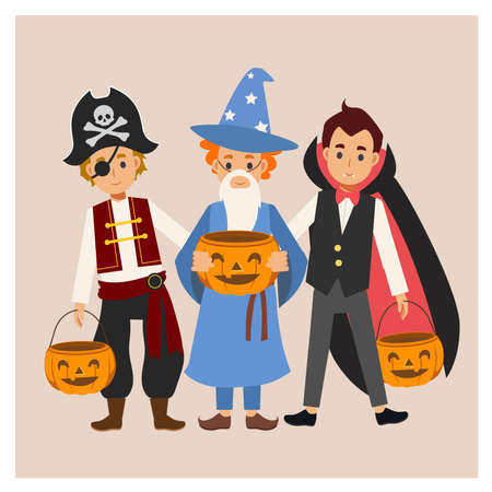 Children in variety Halloween costume are enjoy. trick or treat. Vampire Dracula,Wizard boy, pirate. Иллюстрация