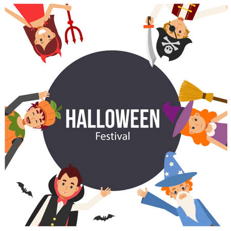Children in variety Halloween costume are enjoy. Halloween banner with kids in costume. Иллюстрация