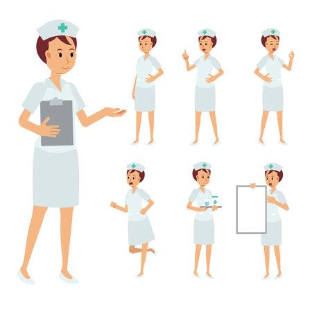 Vector Set of female nurse character.falt medical staff Illustration.