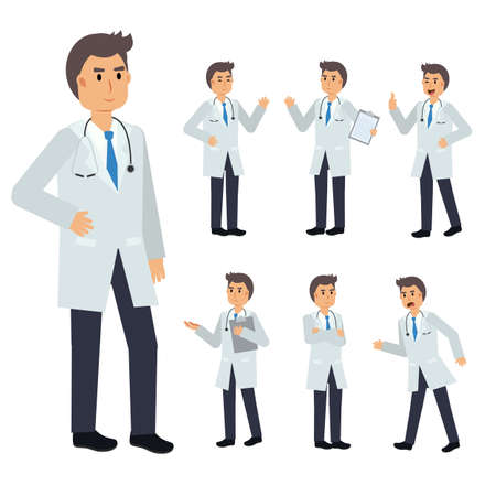 Vector Set of male Doctor character. medical Illustration.