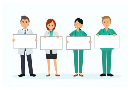 Set of doctor cartoon character hold blank sign banner. vector illustration. Flat style medical character.
