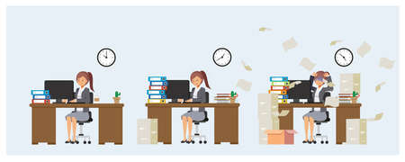 Businesswoman is working in office. Too overload work. overworked.