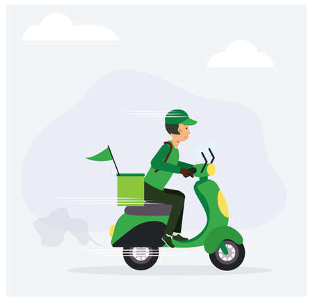 Food delivery service concept ,Male Driver Riding Scooters To Delivery Food. Flat vector cartoon illustration.